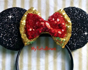 NEW Minnie Mouse Ears BELLE Inspired Shimmering Sparkle Ears with Double Red and Gold Sequin Bow Beauty and the Beast Fits Adults n Children
