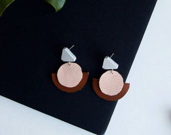 Big Pink Statement Earrings with Brown White Leather on Post