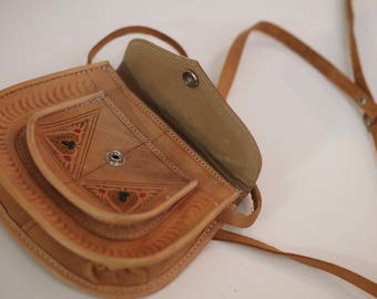 Tan Moroccan small leather snap closure hand made traditional boho purse satchel saddle festival cross body bag