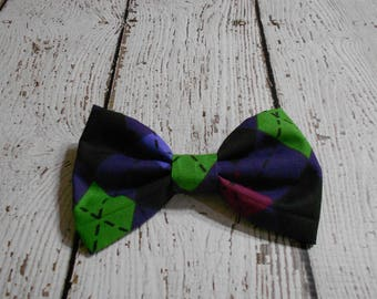 Dog Bow- Purple and Green Argyle