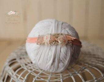 Soft peach headband/newborn prop, photography prop, newborn headband, newborn prop, baby headband