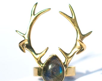 Horned Labradorite Ring (JB-R-008), antler ring, stag ring, labradorite ring, taxidermy jewelry, antler jewelry, stag jewelry, deer
