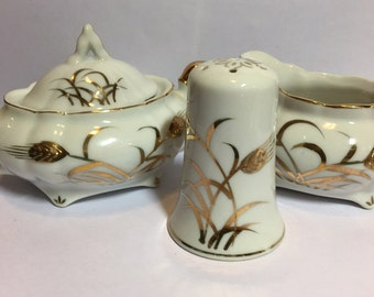 Lefton creamer sugar and salt shaker, Hand painted with heavy gold moriage, gilded, beautiful