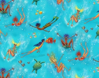 Swimming Fun - Summertime Collection - Elizabeth's Studio 6603-BLUE (sold by the 1/2 yard)