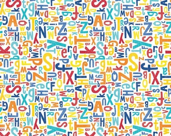 Crayola Color Me Alphabet White - Riley Blake Designs - C5401-MULTI (sold by the 1/2 yard)