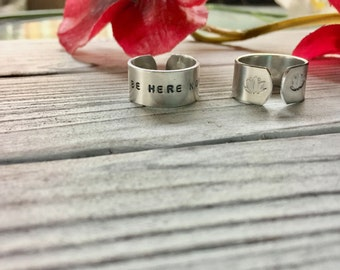 Be Here Now Ring -  Inspirational Jewelry - Lotus Ring - Mantra Ring - Yoga Ring - Intentional Jewelry - Hand Stamped Ring - Yoga Jewelry