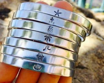 Beach Bracelets Hand Stamped cuff - wave, starfish, anchor, pineapple, hamsa, lotus bracelet