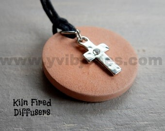 Rhinestone Cross Personal Essential Oil Diffuser Necklace Pendant Kids or Adults Aromatherapy Terracotta Charm Jewelry Natural Pain Relief