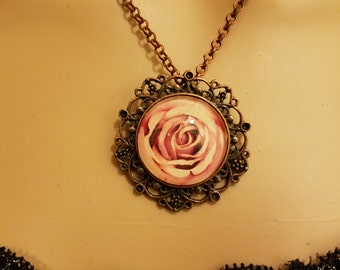 Necklace Rose Photo Pendant Copper Setting Pink Peach