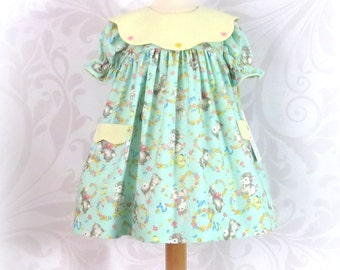 Baby Girl Dress, Easter, Size 24 Months, Float Dress, Vintage Bunny Print, Handmade, Fully Lined, Portrait Collar, Traditional, Comfortable