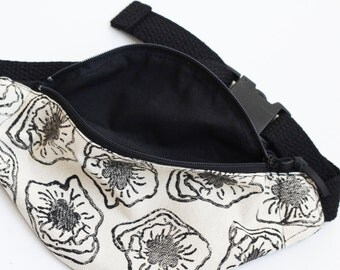 MADE TO ORDER, Toddler Fanny Pack, Floral Print, Monochromatic, Block Printed, Adventure Pouch, Toddler Hip Satchel