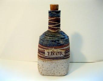 Denmark Stoneware Liquor Bottle, Made by Tue Poulsen, 1970's -1980's  Scandinavian Art Pottery