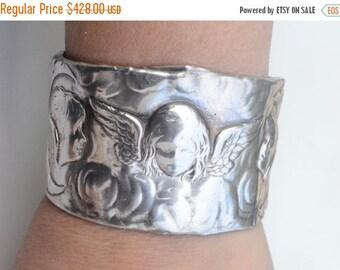 SALE 40% OFF Antique Art Nouveau Solid Sterling Silver 925 .925 Repoussé Cuff Bracelet Cherub Cupid Angels Putti Bracer Medieval Renaissance