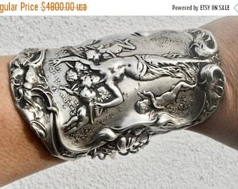 ON SALE 50% OFF Antique Victorian Cherub Angel Art Nouveau Nymph Solid Sterling Silver 925 .925 Wide Cuff Bracelet Statement Cupid Putti Bar