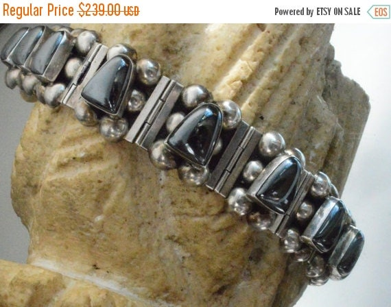 SALE 40% OFF Hematite Taxco Mexico Solid Sterling Silver 925 .925 Mexican Vintage VTG Heavy Chunky Link Gemstone Tasco Rare Old Bracelet