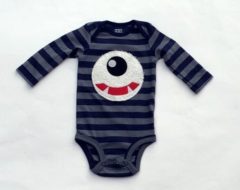Ready To Ship//Monster//Baby Boy// Monster Theme// Appliqued Bodysuit//Size 3 Months