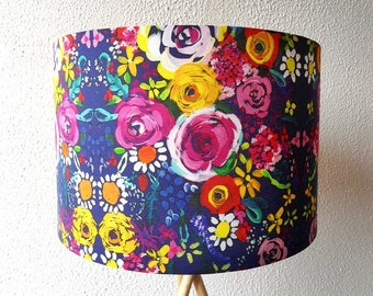 Floral drum lampshade, colorful drum lampshade, handmade lampshade