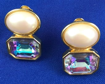 Yves St Laurent Pearl & Crystal Clips