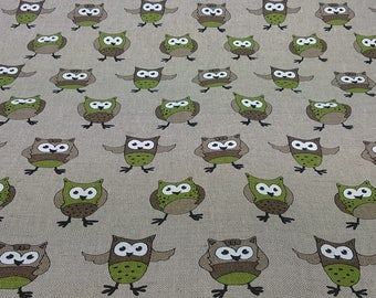 Linen tablecloth natural beige green birds Owls Kids room decor Eco Friendly , napkins placemats runner pillows curtains available, eco GIFT