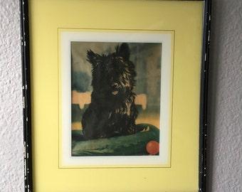 Vintage Print of Fala FDR's Scottie Dog Wood Frame Scottish Terrier