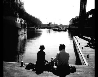 Harbour Lunch, Bristol Harbourside, Bristol Harbour, Black and White Photograph, Couple, Love, Romance, Fine Art Photograph, Wall Art, UK