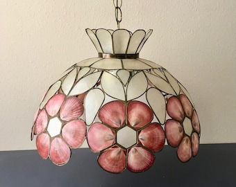 vintage capiz shell pendant light pink seashells boho beach decor
