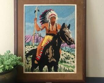 vintage needlepoint Native American horse headdress southwestern boho decor