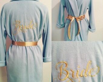 Bride's Robe, Bride Robe, Monogrammed Robe, Custom Robe, Aqua Blue Robe, Short Robe, Personalized Robe, Fleece Robe, Fluffy Robe, Cozy Robe