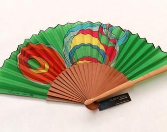 Spanish fan in natural silk hand painted spirals fan. Fan contemporary textile design for women, flamenco fashion. fan gift