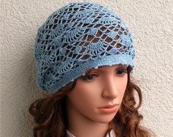 Womens Crochet Summer boho light blue hat slouchy hat Summer beret hat 100% Linen tams hat Women's Summer hat Women's Slouchy Tam Hat