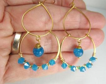 Gold Vermeil Chandelier Earrings, Blue Agate, Wire Wrapped Swarovski Caribbean Blue Opal Crystal, 14k Gold Filled Earrings, Blue Earrings