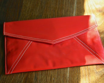 Vintage red patent pleather letter envelop clutch
