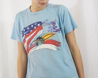 Vintage Surf USA T-Shirt Size XL Sky Blue Radical 80s Soft Tee