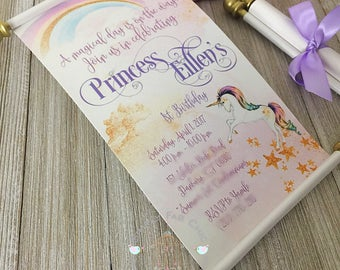 Unicorn Scroll Wedding Invitation Birthday Wedding Invitation Handmade rainbow Invitation | Disney Wedding Invitation | Unicorn Rainbow