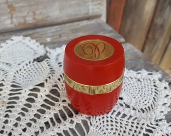 60s vintage C avon red gold glass cream sachet fragrance jar perfume bottle 4 jewelry cream coins pills trinket trinkets crafts container