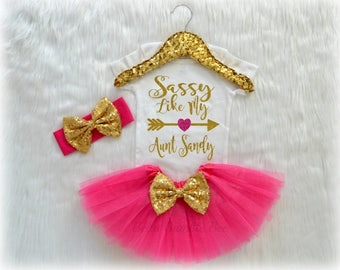 Baby Girl Sassy Like My Aunt, Hot Pink and Gold with Custom Name, Tutu Headband Set, Short and Long Sleeve Bodysuit Tshirt 207