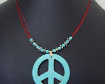 Simple Magnesite Peace Sign Necklace