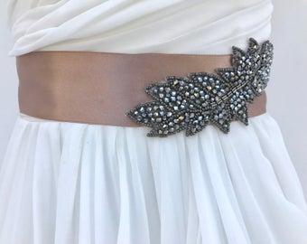 Beaded Leaf Bridal Sash In Bronze, Wedding Dress Sash, Bridal Belt, Rhinestone Wedding Sash