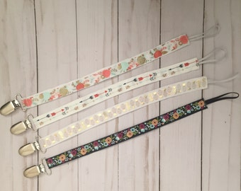 Pacifier holder, pacifier clip, pacifier strap, baby pacifier holder, MAM clip, soothie clip, NUK clip, ribbon paci clip