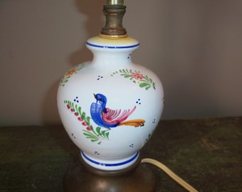 Vintage Small Desktop Lamp Hand Painted Ceramic Birds Lighting Table Lamp