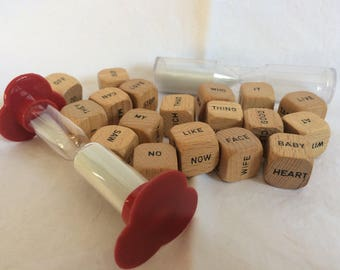 vintage wood word blocks with two timers