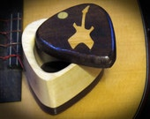 Guitar Pick Two Tone Wood Box Dark Top with Guitar Inlay
