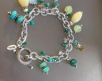 Sterling Silver Beaded Bracelet Marked Barse