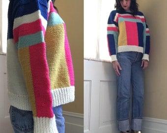 Vintage Color Block Sweater // Womans Sweater // Vintage Sweater