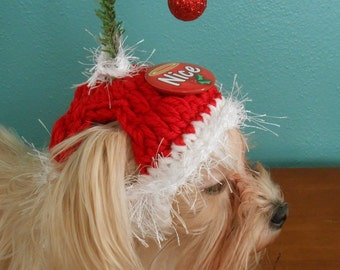 Christmas Cat Hat, Holiday Dog Hat, Christmas Button Pet Hats, Holiday Sayings Crocheted Cat or Dog Hats