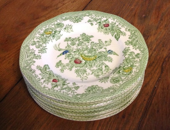 Set of 8 bread dessert plates Enoch Wedgwood Tunstall Kent green transferware multicolor china English country cottage chic  serveware