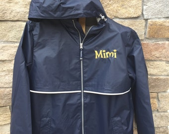 Navy Blue Monogram Rain Jacket, Embroidered Rain Coat, Navy and Gold Jacket, Personalized Rain Coat, Mother's day Gift, Grandparents Gifts,