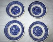 "Set of 4 Vintage Blue Willow Fruit-Dessert-Sauce Bowls, 5.25"", 1940s, Maybe Royal (USA)"