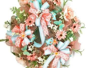 Summer Mesh Wreath On SALE!!, Summer Front Door Wreath Sale, Mesh Wreaths, Summer Door Wreath, Elegant Wreath,  Summer Wreath, Summer  Decor