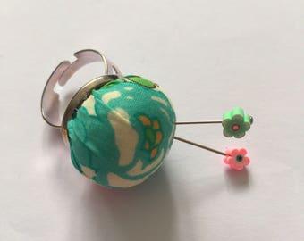 Teeny tiny handmade Liberty fabric Pincushion ring